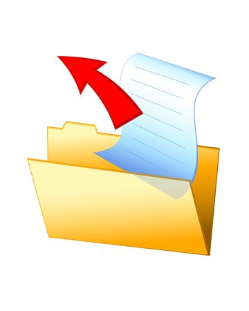 Open folder with arrow out. Digital illustration. Blends, gradients. Stock fotó