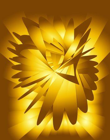 ゴールデン イエローのフラクタル。デジタル イラストです。複数のテクニック。