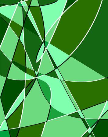 Emerald-green fractals. Digital illustration. Multiple techniques.