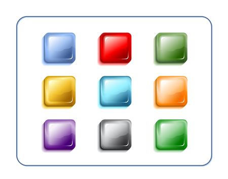 Rectangular glass buttons. Digital illustration. Contains clipping path. Фото со стока