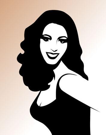 Smiling Lady - black & white digital illustration. Stok Fotoğraf