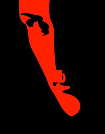 Suspicious man poster. Shadows. Aggressive color digital illustration.