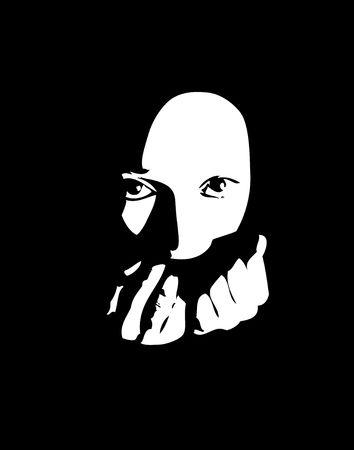 Scared woman poster. Black & white digital illustration. Фото со стока