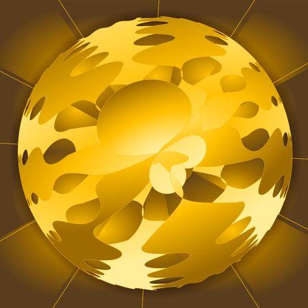 黄金の茶色の球です。抽象的なフラクタル。デジタル イラストです。複数のテクニック。