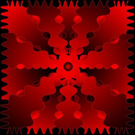 赤黒のパターン。抽象的なフラクタル。デジタル イラスト。複数の技術。