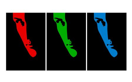 Suspicious man poster. RGB Shadows. Digital illustration.