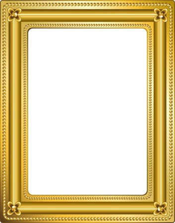 Golden frame with clipping path. Digital illustration. Blends, gradient mesh.