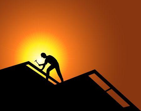 Lavoratore su una nuova costruzione. Coperture.  Archivio Fotografico - 601282