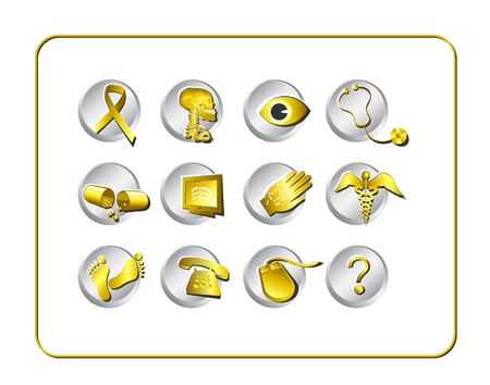 Medical & Pharmacy Icon Set - Golden 1. Digital illustration. Contains clipping path.