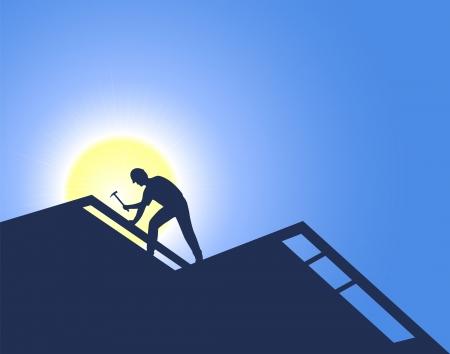 Ouvrier sur une nouvelle construction. Roofing.  Banque d'images - 605091