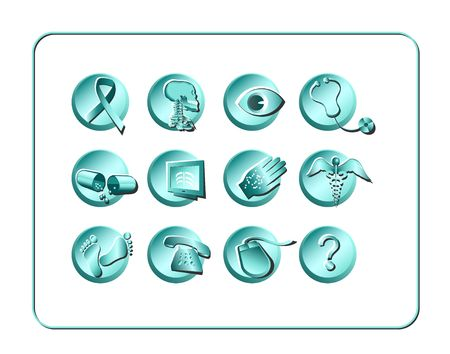 Medical & Pharmacy Icon Set. Digital illustration. Contains clipping path.