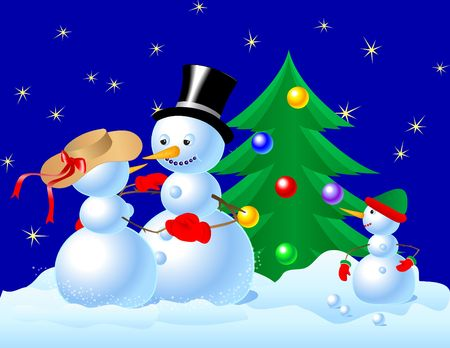 Snowmen dancing in front of small snowman and Christmas tree. Digital illustration. Gradients, blends, gradient mesh.