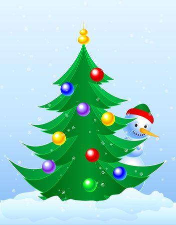 Christmas Tree & Snowman peeking. Digital illustration. Stok Fotoğraf - 626285