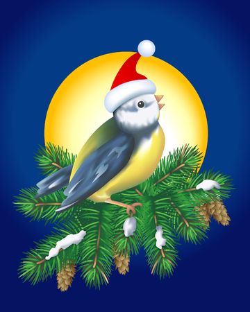 Christmas Bird in Santas hat singing on Christmas tree. Digital illustration. Gradient mesh.