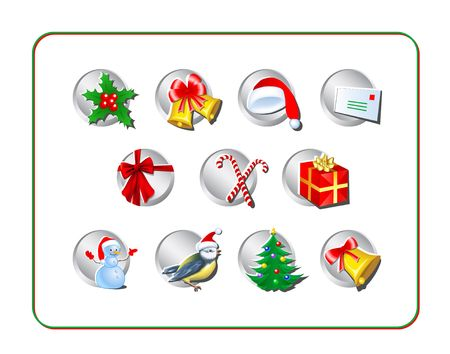 Christmas Icon Set. Digital illustration. Contains clipping paths.