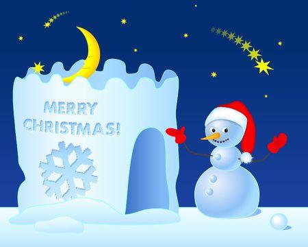 Sneeuwpop nodigt zijn gasten te vieren Kerstmis in zijn huis. Digitale illustratie.