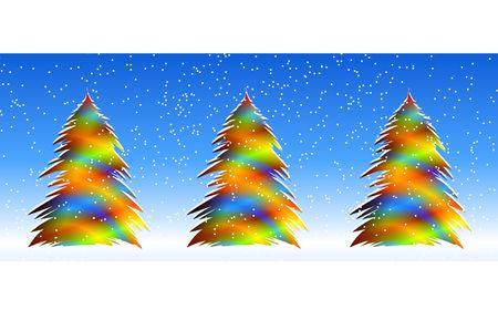 明るいクリスマス ツリー。デジタル イラスト。グラデーション。複数の技術。 写真素材