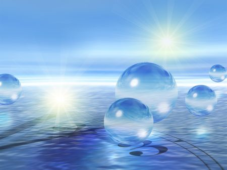 3d abstract graphics: airy glass balls & clock in water. Stock fotó