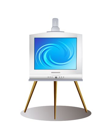Digital Art illustration. Modern monitor on old-fashioned easel. Contains clipping path.