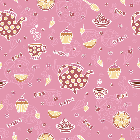 Pattern with decorative teapots, cups and different additives for tea.Vector illustration.