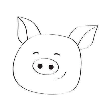 Stock vector illustration. Pig smiley face icon. Pork meat. Pig outline logo.