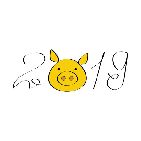 Cute illustration of 2019 pig year for your design concept