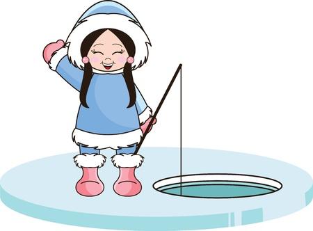 ice fishing: Chica de Alaska