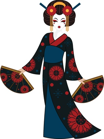 wig: Geisha Illustration