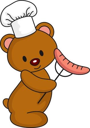 BBQ Bear Vector