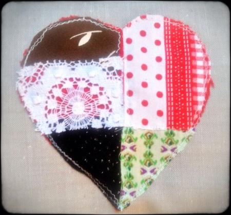 stitch: Material stitch heart