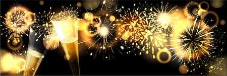 sylvester: background with fireworks Stock Photo
