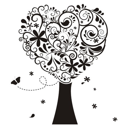 buzzer: heart tree with ornaments Illustration