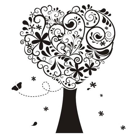 wedding heart: heart tree with ornaments Illustration
