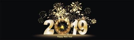Gelukkig Nieuwjaar sylvester achtergrond met vuurwerk Stockfoto