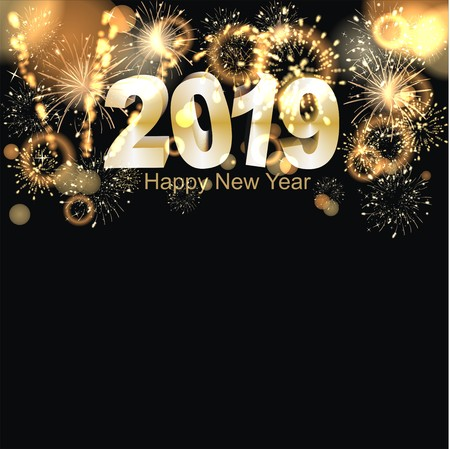 Happy New Year 2019 background with fireworks Imagens - 105708134