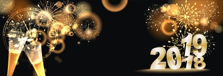 Happy New Year 2019 background with fireworks Imagens - 105708133