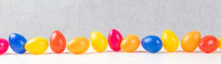 colorful easter eggs with gray background and copy space