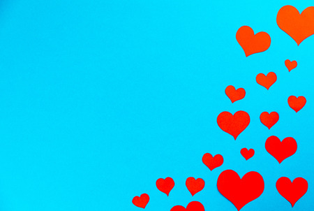 red hearts on a blue background frame