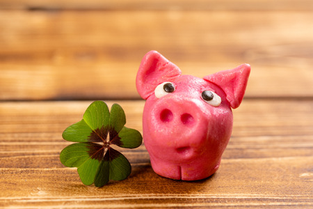 green shamrock with lucky pig on a wood background sign of happiness Reklamní fotografie - 123108342