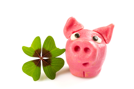green shamrock with lucky pig sign for happiness isolated on white background