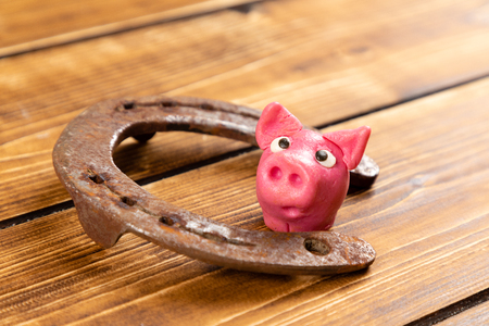 horseshoe with lucky pig sign for luck for st patricks day on a wooden background Reklamní fotografie - 123085152