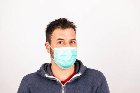 man with a mouthguard isolated against white background with copy space