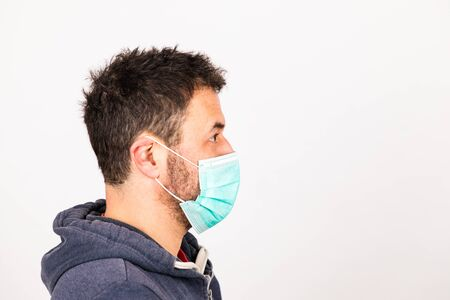 man with a mouthguard isolated against white background with copy space Archivio Fotografico - 140902454