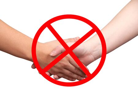 Hands give isolated on white background with forbidden sign - handshake prohibited Banco de Imagens