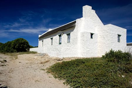 perspective shot of fishermans cottage in arniston,south africa