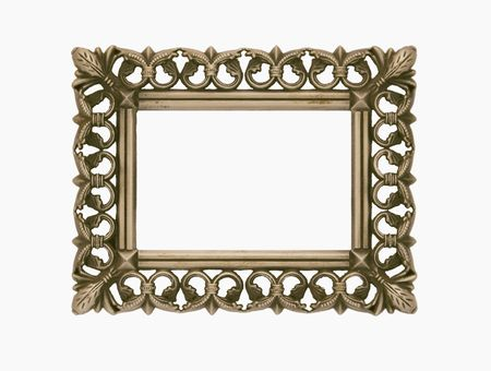 empty antique frame with intricate pattern isolated on white Stock Photo