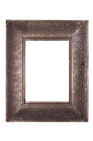 empty old pewter frame isolated on a white background with clipping path