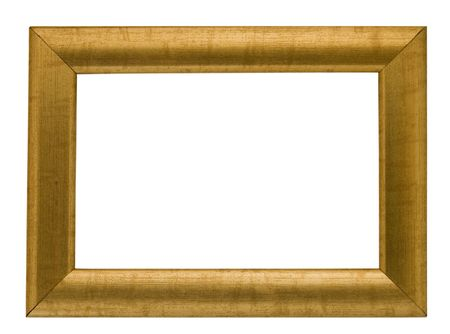 empty simple gold coloured frame isolated on white with clipping path