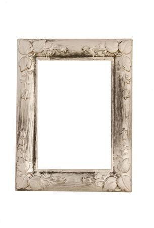 empty isolated old silver coloured frame isolated on white background