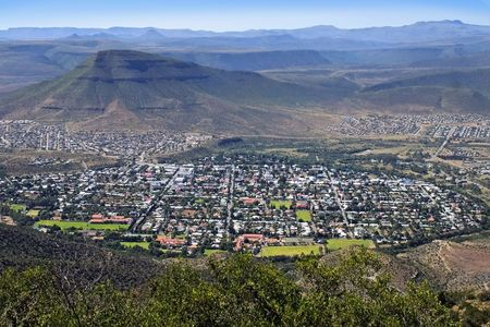 wide panoramic image of Graaff-Reinette in South Africa
